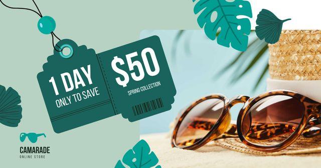 Template di design Sunglasses Sale Ad Stylish Vintage Glasses Facebook AD