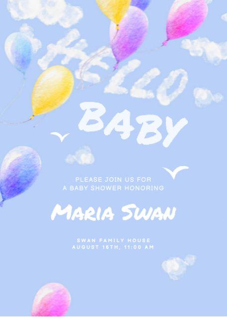 Ontwerpsjabloon van Invitation van Baby Birthday Announcement with Bright Balloons