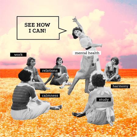 Plantilla de diseño de Mental Health Inspiration with Girls sitting in Circle Instagram