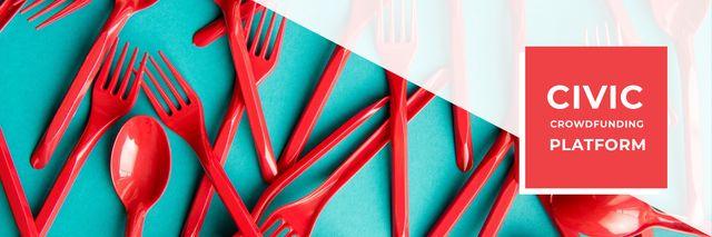 Designvorlage Crowdfunding Platform Red Plastic Tableware für Twitter