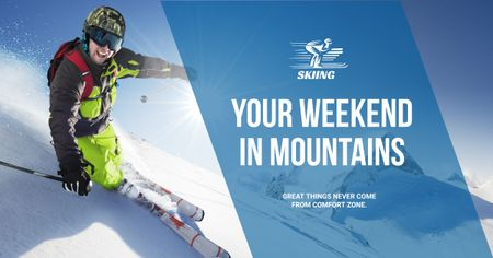 Weekend in snowy mountains Facebook AD Modelo de Design
