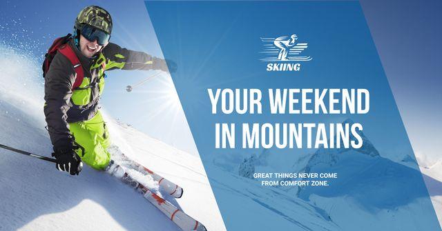 Ontwerpsjabloon van Facebook AD van Weekend in snowy mountains