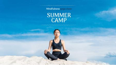 Template di design Woman practicing Yoga on Hill FB event cover