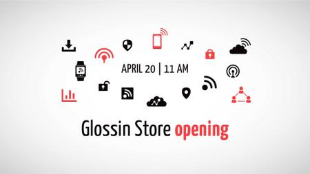 Tech Store Opening Announcement FB event cover Modelo de Design