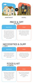 Comparison infographics between apartment and hotel