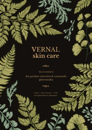 Skincare ad on Green fern leaves Invitation Design Template