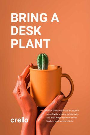 Ecology Concept Hands with Cactus in Cup Tumblr tervezősablon