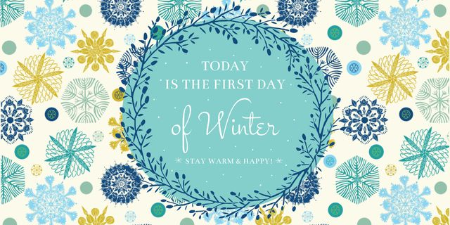 Modèle de visuel Today is first day of winter lettering - Image