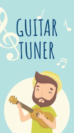 Plantilla de diseño de Happy Man playing ukulele Instagram Story