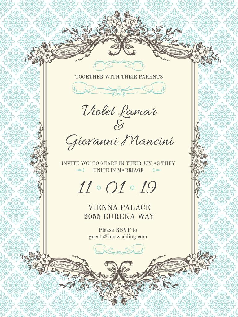 Wedding Invitation in Vintage Style in Blue — Crea un design
