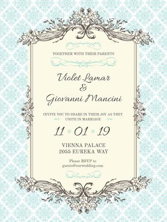 Plantilla de diseño de Wedding Invitation in Vintage Style in Blue Poster US