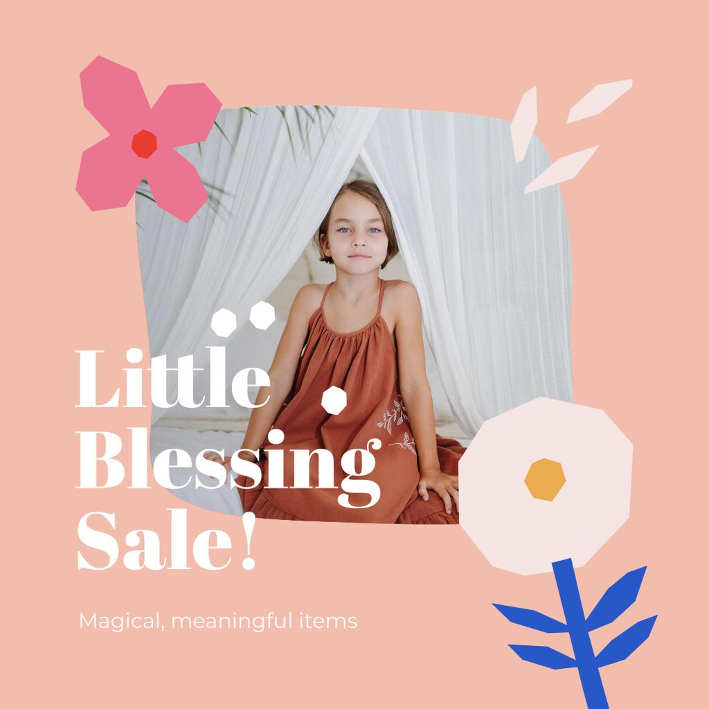 Children's Store Sale Ad with Cute little Girl Instagram Design Template