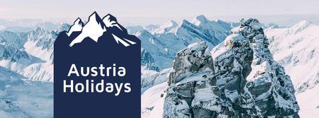 Modèle de visuel Winter Tour Snowy Mountains View - Facebook cover