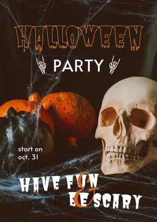 Halloween Party Announcement with Skull and Pumpkins Poster – шаблон для дизайна