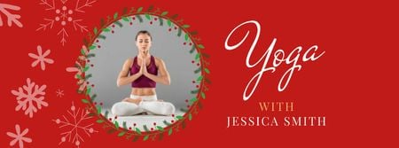 Plantilla de diseño de Yoga Christmas Offer with Woman in Lotus Pose Facebook cover