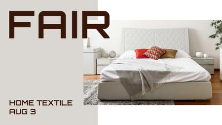 Comfortable Bedroom in white colors FB event cover Modelo de Design