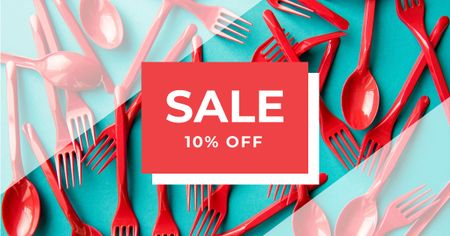 Template di design Discount Offer with Red Plastic Tableware Facebook AD