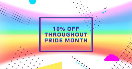 Designvorlage Pride Month Offer with Rainbow Gradient für Facebook AD