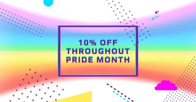 Pride Month Offer with Rainbow Gradient Facebook AD – шаблон для дизайну