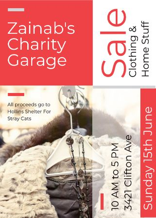 Charity Sale Announcement Clothes on Hangers Invitation Tasarım Şablonu
