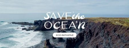 Modèle de visuel Ocean Protection Concept with waves - Facebook cover