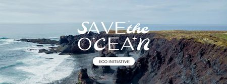 Ocean Protection Concept with waves Facebook coverデザインテンプレート