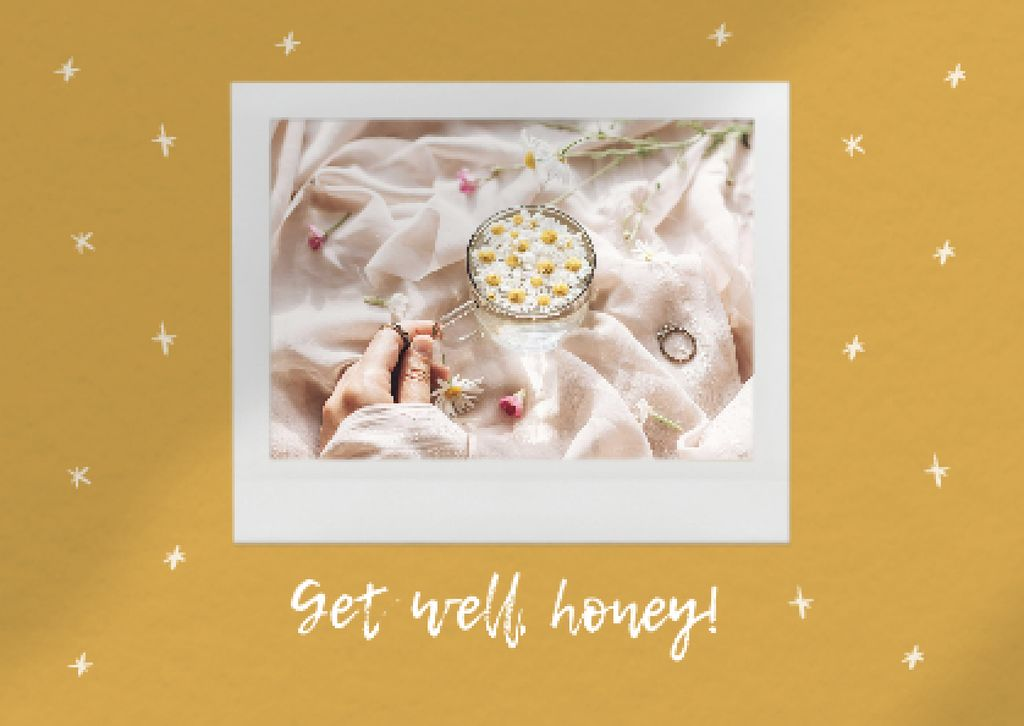 Get Well Wish with Chamomile Tea Cardデザインテンプレート