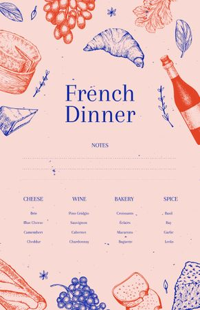 Designvorlage French Dinner Cooking with Croissants and Wine für Recipe Card