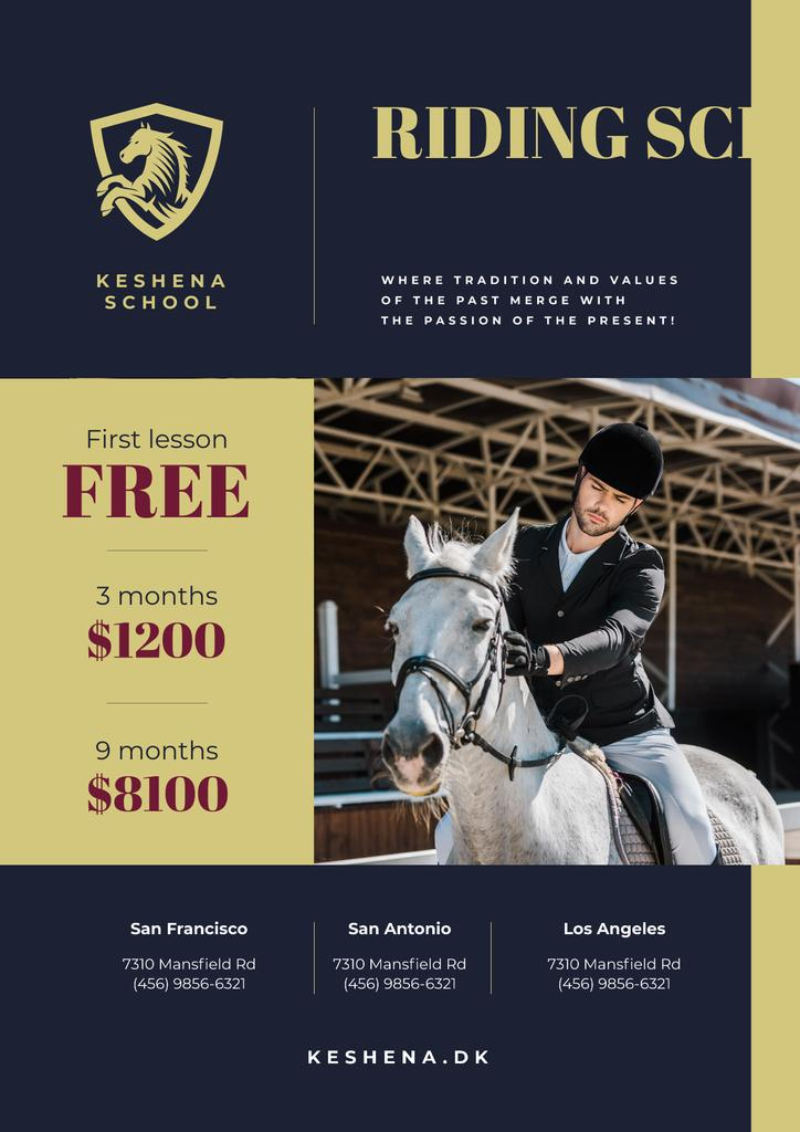 Riding School Ad with Man Riding Horse — Create a Design