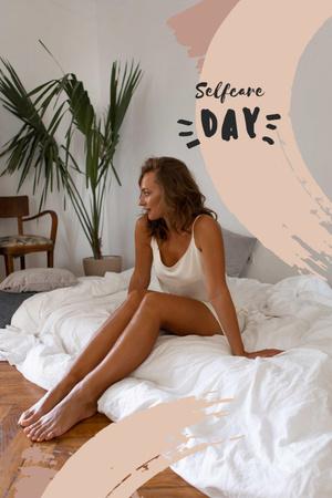 Plantilla de diseño de Selfcare Day Inspiration with Woman in Bed Pinterest