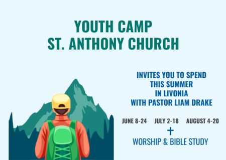 Plantilla de diseño de Youth Religion Camp invitation with boy in Mountains Postcard