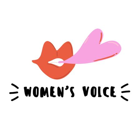 Girl Power Inspiration with Lips Illustration Logo Modelo de Design