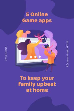 Modèle de visuel #QuarantineAndChill Online Game apps Ad with Happy Family - Pinterest