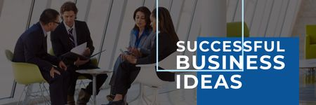 Successful business ideas poster with business people during meeting Twitter Tasarım Şablonu