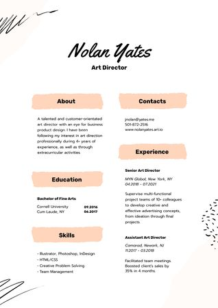 Plantilla de diseño de Art Director skills and experience Resume