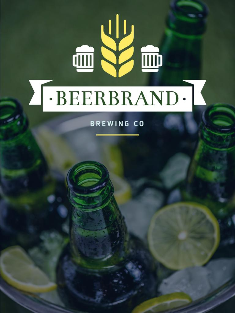 Brewing Company Ad Beer Bottles in Ice — Modelo de projeto