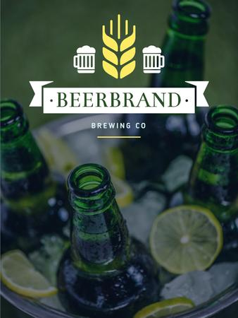 Brewing Company Ad Beer Bottles in Ice Poster USデザインテンプレート