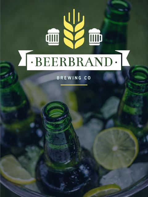 Designvorlage Brewing Company Ad Beer Bottles in Ice für Poster US