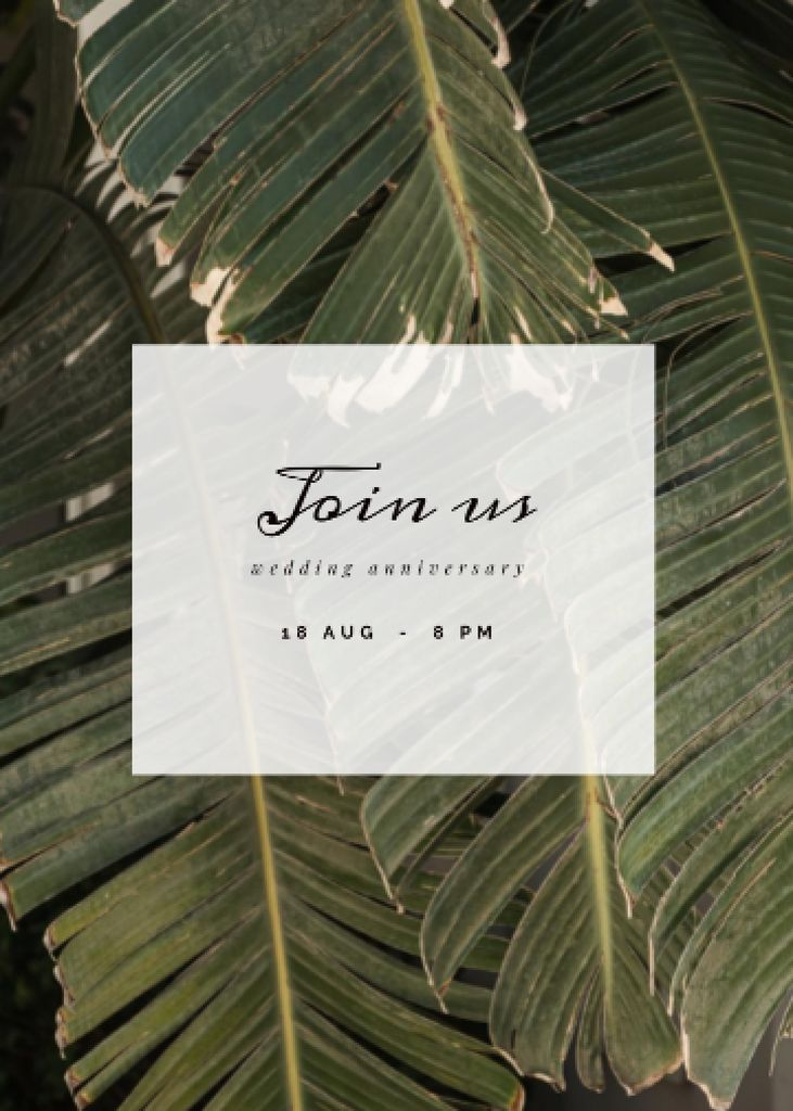 Plantilla de diseño de Wedding Anniversary Announcement with Tropical Leaves Invitation