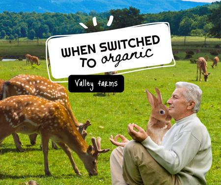 Modèle de visuel Funny Old Man meditating on Deer Farm - Facebook