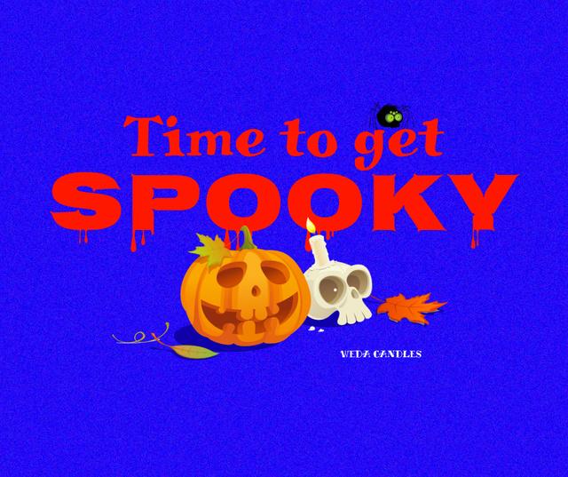 Szablon projektu Candy Shop offer with Halloween Pumpkins Facebook