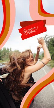 Plantilla de diseño de Summer Inspiration with Happy Girl in Car Graphic
