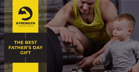 Dad with son i gym on Father's Day Facebook AD Modelo de Design