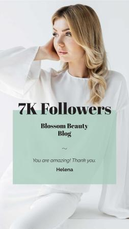 Plantilla de diseño de Beauty Blog Ad with Attractive Woman in White Instagram Story
