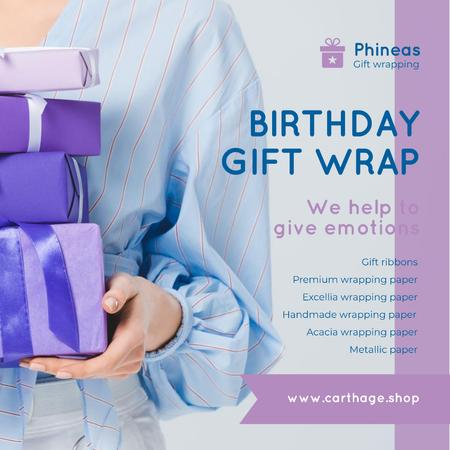 Template di design Birthday Gift Wrap Offer Woman Holding Presents Instagram