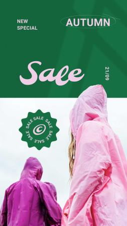 Autumn Sale with People in Bright Raincoats Instagram Story Design Template