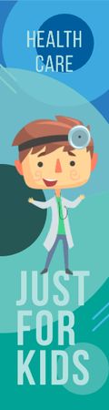 Kids' Healthcare Confident Doctor with Stethoscope Skyscraper – шаблон для дизайна