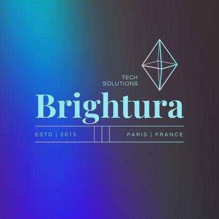 Tech Services Ad with Rhombus Illustration Logo – шаблон для дизайну