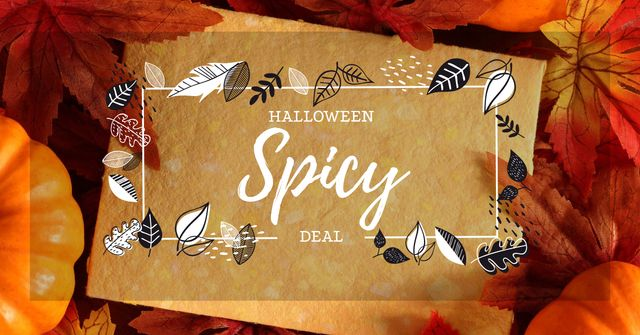 Plantilla de diseño de Halloween Sale Offer in Autumn Leaves Frame Facebook AD