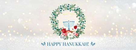 Plantilla de diseño de Hanukkah Greeting with menorah Facebook cover